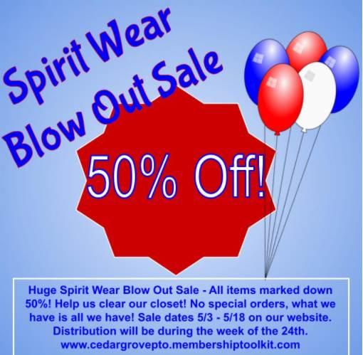 Cedar Grove PTO Spirit Wear Blow Out Sale