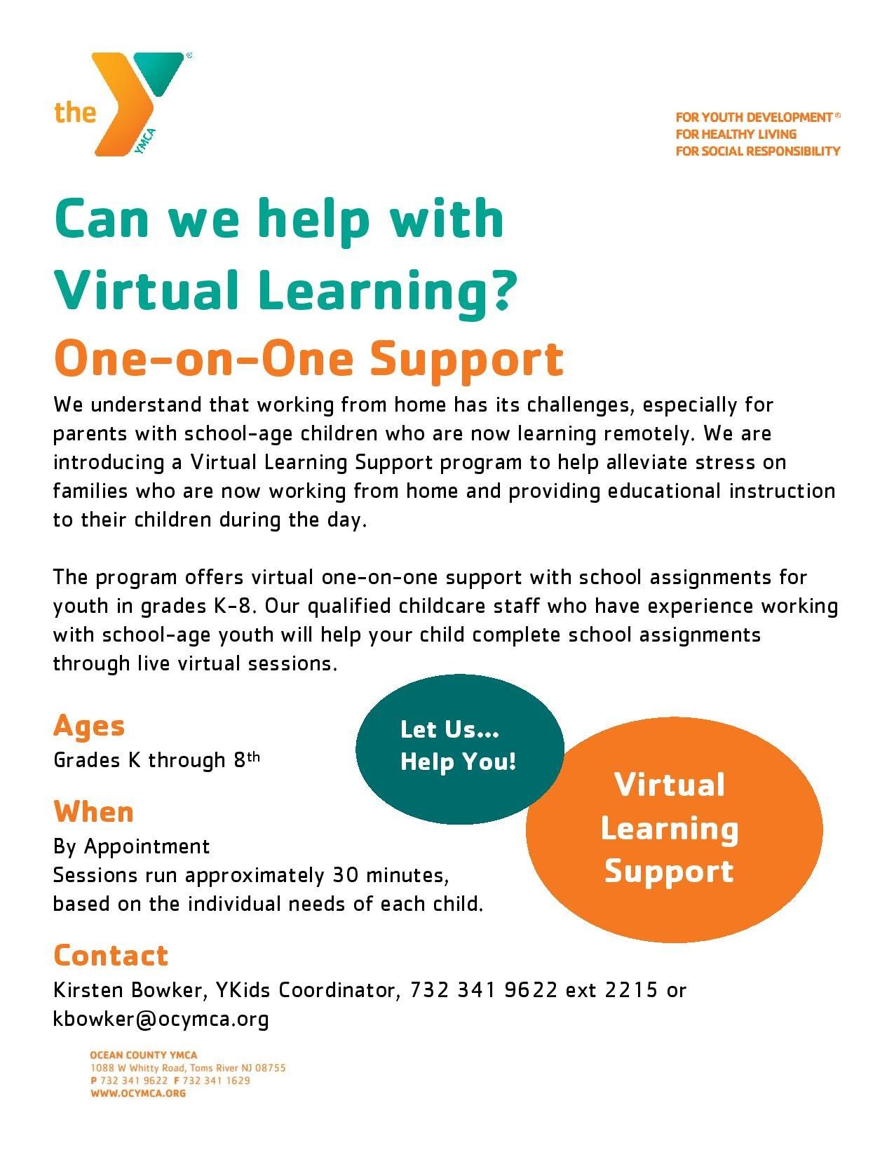 virtual learning flyer YMCA