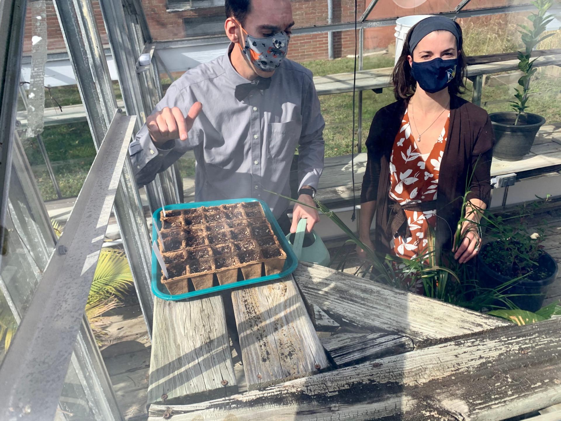 Teacher in a greenhouse